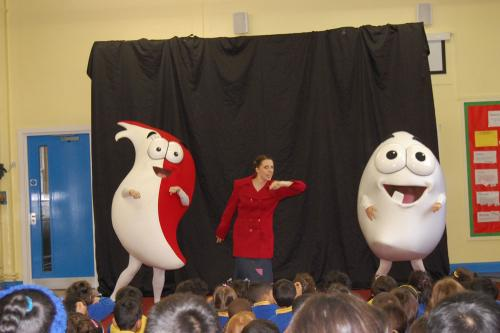 School Assembly with Characters