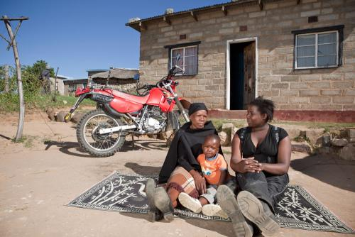 Women and Child with Motorbike