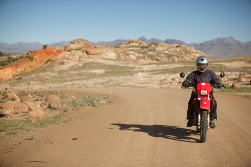 Motorcyclist on Desert Road