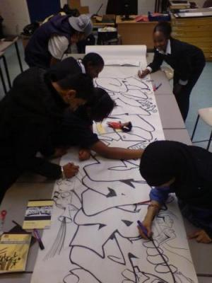 School Children at Urban Art Workshop